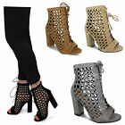 Womens Ladies Block Heel New Peep Toe Ankle Boots Lace Up Detail Zip Fastening