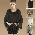 2015 Newest Wide Warm Lady Women Real Rabbit Fur Knit Cape Cape Cloak Poncho Top
