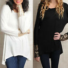 New Sequins T-Shirt Tunic Blouse Asymmetrical Pullover Casual Tops Shirts UKFO