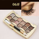Professional 12 Colors Eyeshadow Shimmer Palette + Cosmetic Brush Set