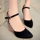 Women's High Wedge Heel Pointy Toe Pumps Ankle Strap Suede Diamond Ladies Shoes