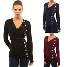 Women Long Sleeve Shirts Vogue Buttons T-Shirt Tops Casual Blouses Pullovers AB