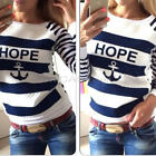 Casual Womens Round Neck Pullover Anchor Stripe T-Shirt Long Sleeve Tops Blouse