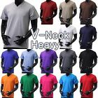 Mens V NECK T Shirts HEAVY Short Sleeve Sports Blank 5XL Solid Color Cotton Tee image