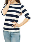 Women Boat Neck Elbow Sleeves Slim Fit Striped Tee