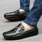 Mens Leather Slip On Loafers Winter Warm Fur Lined Driving Shoes Moccasins Flats