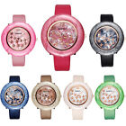Fashion Cute Crystal butterfly Women Girl ladies Leather Band Quartz Wrist Watch