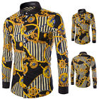 New Men's Fashion Casual Shirts Floral Pattern Long Sleeve Slim Luxury Fit Shirt