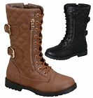Kids Girls Argyle Quilted Buckled Fashion Combat Boots Black Brown Tan 11 to 4