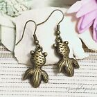 ER2919 Graceful Garden Vintage Style Bronze Tone Goldfish Dangle Charm Earrings