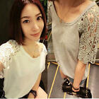 Womens Lace Hollow Out Split Joint Short Sleeve Loose Casual T-Shirt Tops Blouse