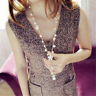 Women's Pearl Charm Flower Sweater Chain Long Pendant Necklace beauty  New