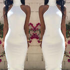 Women's Girls Sexy Sleeveless Back Hollow Bodycon Halter Party Club Dress White