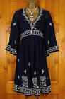 NEW MONSOON NAVY BLUE WHITE EMBROIDERED BOHO TUNIC DRESS UK SIZE 8 - 22 RRP £69