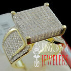 BIG BOLD LADIES WOMEN'S YELLOW GOLD PLATED ENGAGEMENT WEDDING RING BAND SILVER