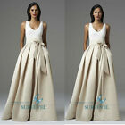 Hot Decent Floor-length Long Women's Skirts Ribbons Bow Thick Satin Folds Skirts
