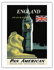 Pan Am Airways EUROPE Big Ben 1950s Vintage Airline Travel Poster Fine Art Print