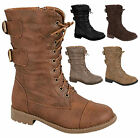 NEW Baby Kids Girls Lace Up Military Combat Buckle Strap Zipper Low Heel Boots