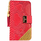 Luxury Snake Skin PU Leather Flip Wallet Purse Case PINK for iPhone 6 6+ 6S Plus