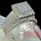 2Pc Ladies Infinity Band Bridal Cluster Style 2 Tone Silver Lab Diamond Rings