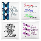 Image 2Sides~Dream Butterfly Dragonfly Firm Feel Home Decor Cushion Case~New