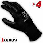 4 Pairs Black High Quality Work Gloves Pu Coated  Builder Mechanic Construction