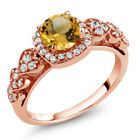 1.02 Ct Round Yellow Citrine 18K Rose Gold Plated Silver Ring