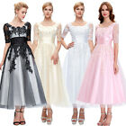 Women Lace & Tulle Long Sleeve Evening Party Wedding Cocktail Long Pageant Dress
