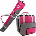 Dark Pink Grey Ski Bag Combo for Ski Poles, Boots and Helmet - Limited Edition -
