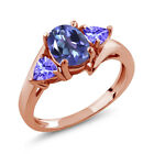 1.72 Ct Oval Purple Blue Mystic Topaz and Blue Tanzanite 14K Rose Gold Ring