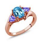 1.72 Ct Oval Swiss Blue Topaz Blue Tanzanite 18K Rose Gold Plated Silver Ring