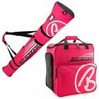Dark Pink White Ski Bag Combo for Ski Poles, Boots and Helmet -Limited Edition-