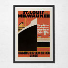 ART DECO POSTER - St Louis Travel Poster - Vintage Boat Poster, Cruise Ship Post