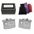 Personalised Engraved Brushed Steel Cuff Links & Box Best Man Gift Groom Dad Son