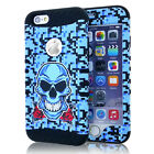 for iPhone 6 / 6S - Camo Skull Hybrid Shockproof Hard & Soft Rubber Cover Case