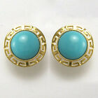 18k Solid Yellow Gold Turquoise Stud Earrings 12mm #E949