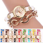 Women's Stainless Steel Leather Band Analog Display Quartz Wrist Watch Bracelet