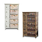 Clearance Sale! Wooden Frame Chest Drawer Cabinet with Wicker Baskets Storage