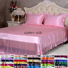 16 Momme 100% Pure Silk Ruffled Fitted & Flat Sheet Pillowcase Set Size Queen