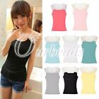 Floral Lace Crochet Shoulder Sleeveless Cotton Tank Tops Vest Casual T-shirt