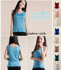 Women's Girl's 100% Pure Silk Casual Tank Top Blouse T Shirt Tees Vest Underwear