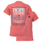 Southern Couture Womens Christian T-Shirt: Hope Anchors the Soul: Coral Heb 6:19