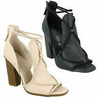 LADIES F10523 BLOCK HIGH HEEL WAISTED ROPE DETAIL BACK ZIP UP SANDALS SPOT ON
