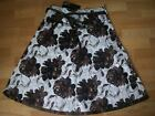 JUST FASHION LADIES SKIRT 100% COTTON BROWN CHOCOLATE FLOWERS SIZE 8 + 10   NEW