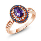 1.35 Ct Oval Checkerboard Purple Amethyst 18K Rose Gold Plated Silver Ring