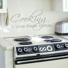 Cooking is Love Made Visible Kitchen Wall Quote Sticker, Big Home Art Decor kq29