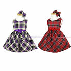 NEW Baby Girls Dresses Bow detailed Woven Winter Dress SZ1-6 in RED-PURPLE CHECK