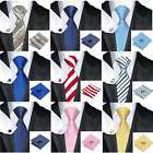 Mens Premium Formal 100% Striped Check Silk Tie Pocket Square Cufflink Tie Set