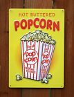 Hot Buttered Popcorn Tin Metal Sign Home Movie Theater Media Room Kitchen G18