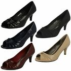 Ladies Spot On Peep Toe Court Shoes / Slip On / Ruched Design